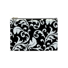 Vector Classical Traditional Black And White Floral Patterns Cosmetic Bag (medium)