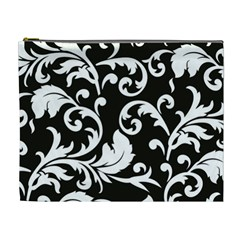Vector Classical Traditional Black And White Floral Patterns Cosmetic Bag (xl)