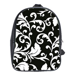 Vector Classical trAditional Black And White Floral Patterns School Bags(Large)