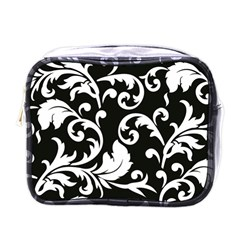 Vector Classical Traditional Black And White Floral Patterns Mini Toiletries Bags