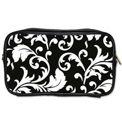 Vector Classical Traditional Black And White Floral Patterns Toiletries Bags 2 Side