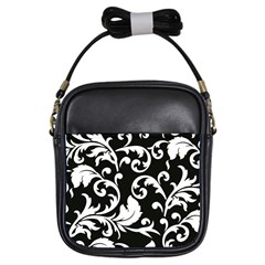Vector Classical Traditional Black And White Floral Patterns Girls Sling Bags