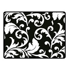 Vector Classical trAditional Black And White Floral Patterns Fleece Blanket (Small)