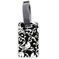 Vector Classical Traditional Black And White Floral Patterns Luggage Tags (two Sides)