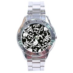 Vector Classical trAditional Black And White Floral Patterns Stainless Steel Analogue Watch