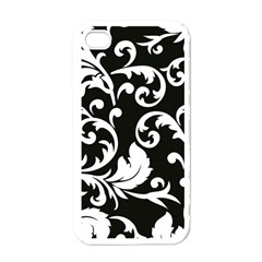Vector Classical Traditional Black And White Floral Patterns Apple Iphone 4 Case (white)