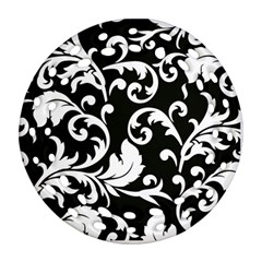Vector Classical Traditional Black And White Floral Patterns Round Filigree Ornament (two Sides)