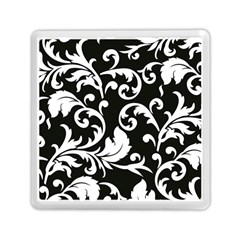 Vector Classical Traditional Black And White Floral Patterns Memory Card Reader (square)