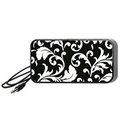 Vector Classical Traditional Black And White Floral Patterns Portable Speaker (black)