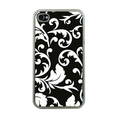Vector Classical Traditional Black And White Floral Patterns Apple Iphone 4 Case (clear)