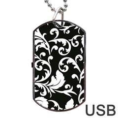 Vector Classical Traditional Black And White Floral Patterns Dog Tag Usb Flash (one Side)