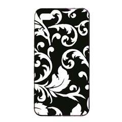 Vector Classical trAditional Black And White Floral Patterns Apple iPhone 4/4s Seamless Case (Black)