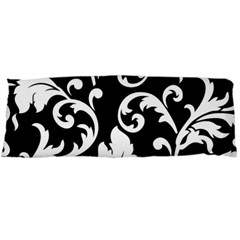 Vector Classical Traditional Black And White Floral Patterns Body Pillow Case Dakimakura (two Sides)