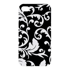 Vector Classical trAditional Black And White Floral Patterns Apple iPhone 4/4S Premium Hardshell Case