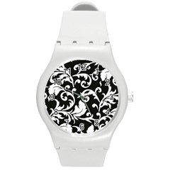Vector Classical trAditional Black And White Floral Patterns Round Plastic Sport Watch (M)
