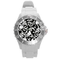 Vector Classical trAditional Black And White Floral Patterns Round Plastic Sport Watch (L)