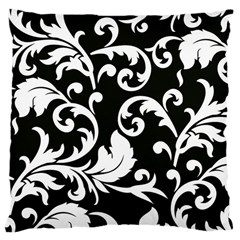 Vector Classical Traditional Black And White Floral Patterns Large Cushion Case (one Side)