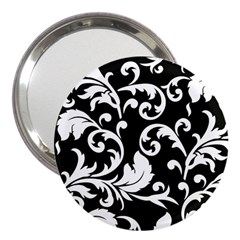 Vector Classical trAditional Black And White Floral Patterns 3  Handbag Mirrors