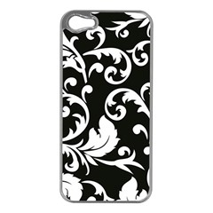 Vector Classical trAditional Black And White Floral Patterns Apple iPhone 5 Case (Silver)