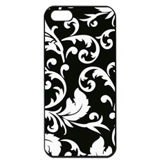 Vector Classical Traditional Black And White Floral Patterns Apple Iphone 5 Seamless Case (black)