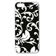 Vector Classical Traditional Black And White Floral Patterns Apple Seamless Iphone 5 Case (clear)
