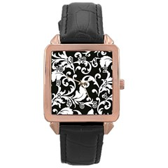 Vector Classical Traditional Black And White Floral Patterns Rose Gold Leather Watch