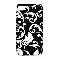 Vector Classical Traditional Black And White Floral Patterns Apple Iphone 4/4s Hardshell Case With Stand