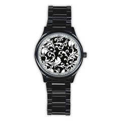 Vector Classical Traditional Black And White Floral Patterns Stainless Steel Round Watch