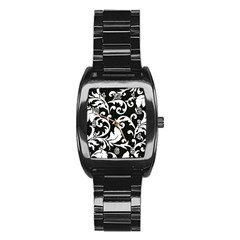 Vector Classical Traditional Black And White Floral Patterns Stainless Steel Barrel Watch