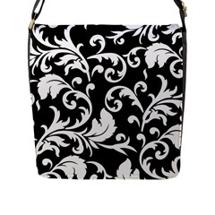 Vector Classical Traditional Black And White Floral Patterns Flap Messenger Bag (l)