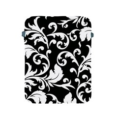Vector Classical Traditional Black And White Floral Patterns Apple Ipad 2/3/4 Protective Soft Cases