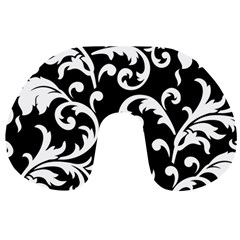 Vector Classical Traditional Black And White Floral Patterns Travel Neck Pillows