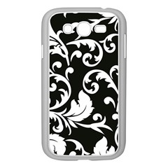 Vector Classical Traditional Black And White Floral Patterns Samsung Galaxy Grand Duos I9082 Case (white)