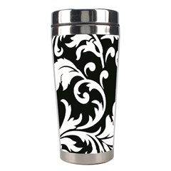 Vector Classical Traditional Black And White Floral Patterns Stainless Steel Travel Tumblers