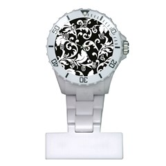 Vector Classical Traditional Black And White Floral Patterns Plastic Nurses Watch