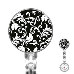 Vector Classical Traditional Black And White Floral Patterns Stainless Steel Nurses Watch