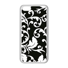 Vector Classical Traditional Black And White Floral Patterns Apple Iphone 5c Seamless Case (white)