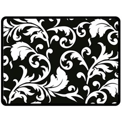 Vector Classical trAditional Black And White Floral Patterns Double Sided Fleece Blanket (Large)