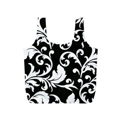 Vector Classical Traditional Black And White Floral Patterns Full Print Recycle Bags (s)