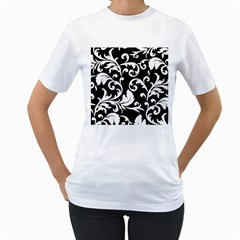 Vector Classical trAditional Black And White Floral Patterns Women s T-Shirt (White)