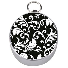 Vector Classical Traditional Black And White Floral Patterns Silver Compasses