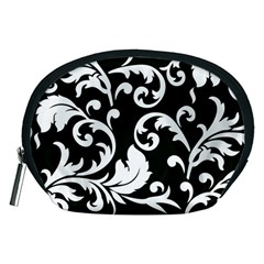 Vector Classical Traditional Black And White Floral Patterns Accessory Pouches (medium)