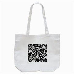 Vector Classical Traditional Black And White Floral Patterns Tote Bag (white)