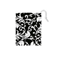 Vector Classical Traditional Black And White Floral Patterns Drawstring Pouches (small)