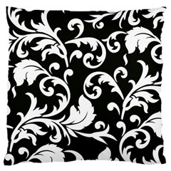 Vector Classical trAditional Black And White Floral Patterns Large Flano Cushion Case (One Side)