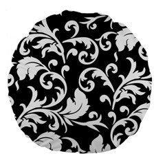 Vector Classical Traditional Black And White Floral Patterns Large 18  Premium Flano Round Cushions