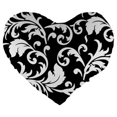 Vector Classical Traditional Black And White Floral Patterns Large 19  Premium Flano Heart Shape Cushions