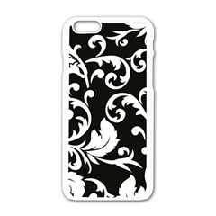 Vector Classical Traditional Black And White Floral Patterns Apple Iphone 6/6s White Enamel Case