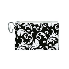 Vector Classical Traditional Black And White Floral Patterns Canvas Cosmetic Bag (s)