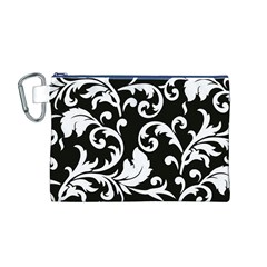 Vector Classical Traditional Black And White Floral Patterns Canvas Cosmetic Bag (m)
